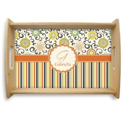 Swirls, Floral & Stripes Natural Wooden Tray (Personalized)