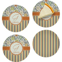 Swirls, Floral & Stripes Set of Appetizer / Dessert Plates (Personalized)