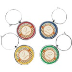 Swirls, Floral & Stripes Wine Charms (Set of 4) (Personalized)