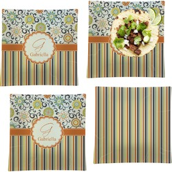 """Swirls, Floral & Stripes Set of 4 Glass Square Lunch / Dinner Plate 9.5"""" (Personalized)"""