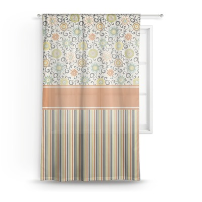 Swirls, Floral & Stripes Sheer Curtains (Personalized)