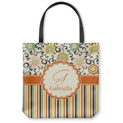Swirls, Floral & Stripes Canvas Tote Bag (Personalized)