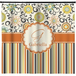 Swirls, Floral & Stripes Shower Curtain (Personalized)
