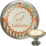 Swirls, Floral & Stripes Cabinet Knob (Silver) (Personalized)