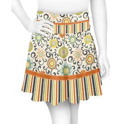 Swirls, Floral & Stripes Skater Skirt (Personalized)