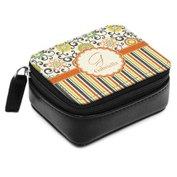 Swirls, Floral & Stripes Small Leatherette Travel Pill Case (Personalized)