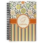 Swirls, Floral & Stripes Spiral Notebook (Personalized)