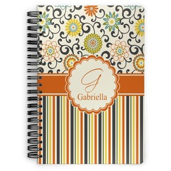 Swirls, Floral & Stripes Spiral Bound Notebook (Personalized)