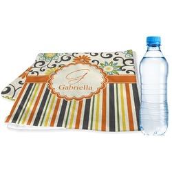 Swirls, Floral & Stripes Sports & Fitness Towel (Personalized)