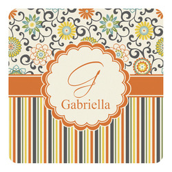 Swirls, Floral & Stripes Square Wall Decal (Personalized)