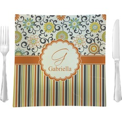 """Swirls, Floral & Stripes 9.5"""" Glass Square Lunch / Dinner Plate- Single or Set of 4 (Personalized)"""