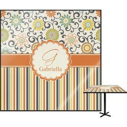 Swirls, Floral & Stripes Square Table Top (Personalized)