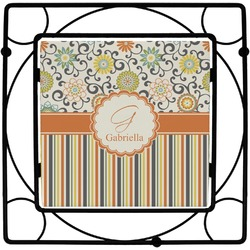 Swirls, Floral & Stripes Square Trivet (Personalized)