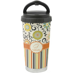 Swirls, Floral & Stripes Stainless Steel Travel Mug (Personalized)