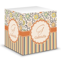 Swirls, Floral & Stripes Sticky Note Cube (Personalized)