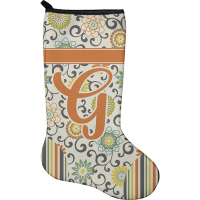 Swirls, Floral & Stripes Holiday Stocking - Neoprene (Personalized)