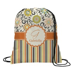 Swirls, Floral & Stripes Drawstring Backpack (Personalized)