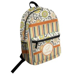 Swirls, Floral & Stripes Student Backpack (Personalized)