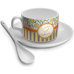 Swirls, Floral & Stripes Tea Cups (Personalized)