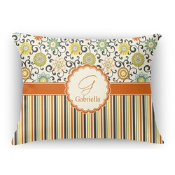 Swirls, Floral & Stripes Rectangular Throw Pillow (Personalized)