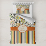 Swirls, Floral & Stripes Toddler Bedding w/ Name and Initial