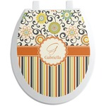 Swirls, Floral & Stripes Toilet Seat Decal (Personalized)