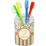 Swirls, Floral & Stripes Toothbrush Holder (Personalized)