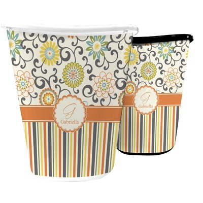 Swirls, Floral & Stripes Waste Basket (Personalized)