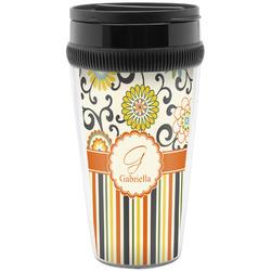 Swirls, Floral & Stripes Travel Mug (Personalized)