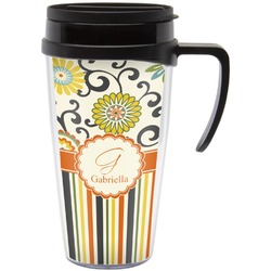 Swirls, Floral & Stripes Travel Mug with Handle (Personalized)