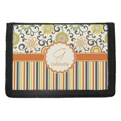 Swirls, Floral & Stripes Trifold Wallet (Personalized)