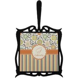 Swirls, Floral & Stripes Trivet with Handle (Personalized)