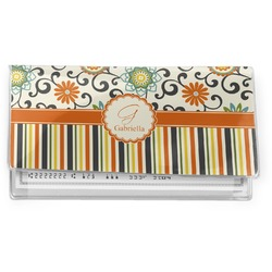 Swirls, Floral & Stripes Vinyl Check Book Cover (Personalized)