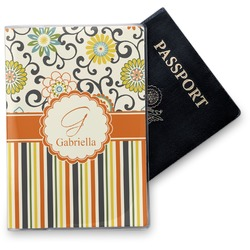 Swirls, Floral & Stripes Vinyl Passport Holder (Personalized)