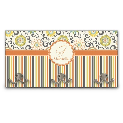 Swirls, Floral & Stripes Wall Mounted Coat Rack (Personalized)