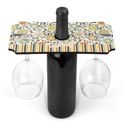 Swirls, Floral & Stripes Wine Bottle & Glass Holder (Personalized)