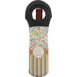 Swirls, Floral & Stripes Wine Tote Bag (Personalized)