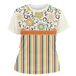 Swirls, Floral & Stripes Women's Crew T-Shirt (Personalized)