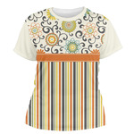 Swirls, Floral & Stripes Women's Crew T-Shirt (Personalized)