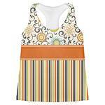 Swirls, Floral & Stripes Womens Racerback Tank Top (Personalized)