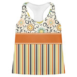Swirls, Floral & Stripes Womens Racerback Tank Top (Personalized)