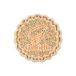 Swirls, Floral & Stripes Genuine Maple or Cherry Wood Sticker (Personalized)