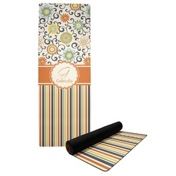 Swirls, Floral & Stripes Yoga Mat (Personalized)