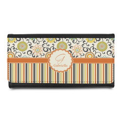 Swirls, Floral & Stripes Leatherette Ladies Wallet (Personalized)
