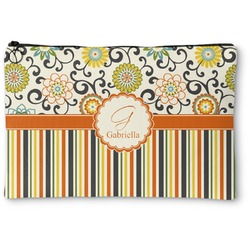 Swirls, Floral & Stripes Zipper Pouch (Personalized)