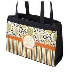 Swirls, Floral & Stripes Zippered Everyday Tote (Personalized)