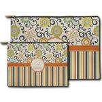 Swirls, Floral & Stripes Zipper Pouch (Personalized)