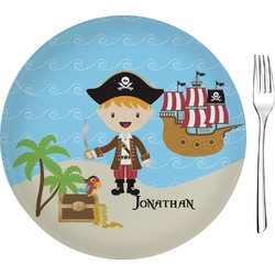 Pirate Scene Glass Appetizer / Dessert Plates 8