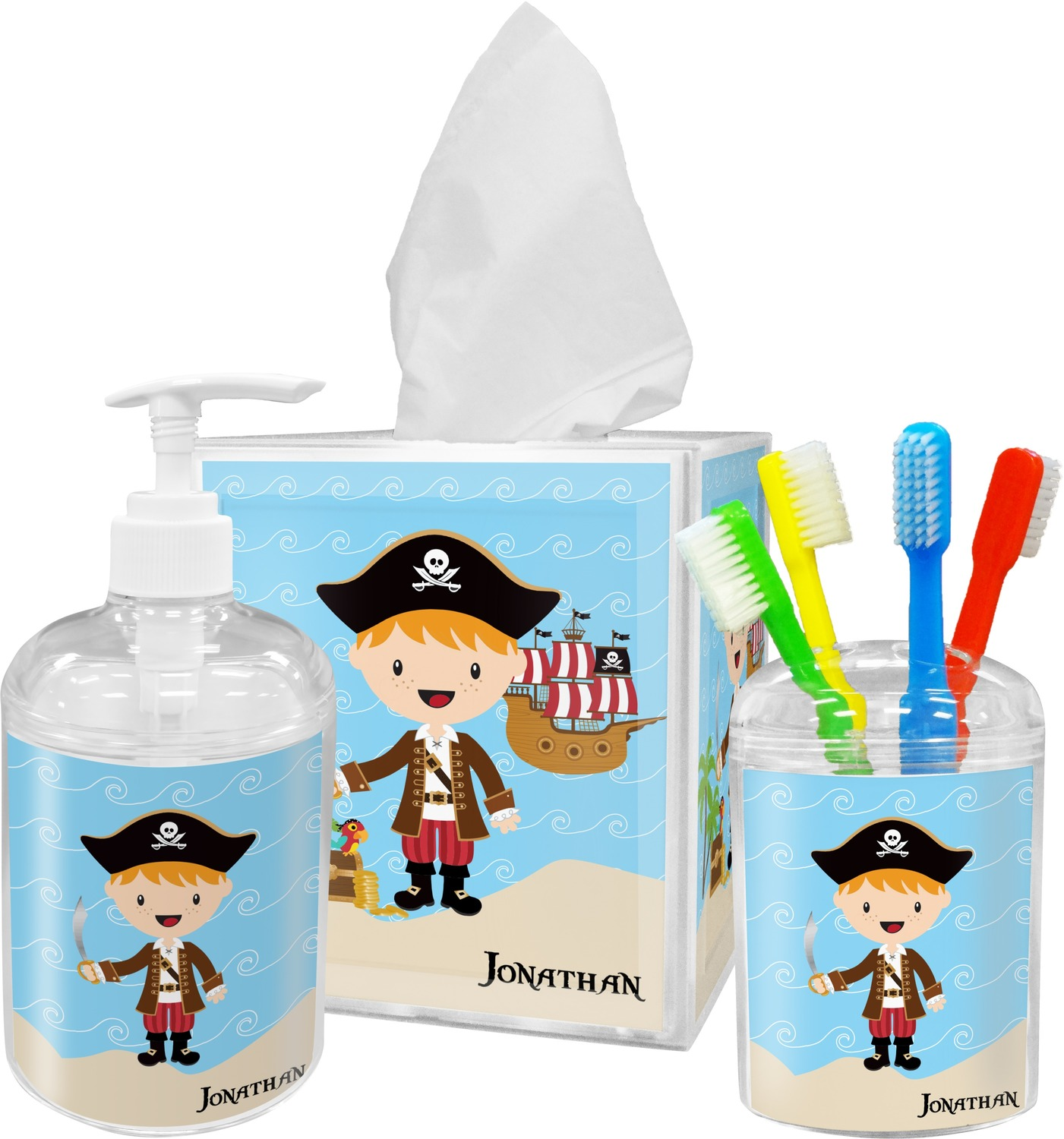 Pirate scene soap lotion dispenser personalized - Monogrammed bathroom accessories ...
