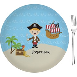 "Pirate Scene Glass Appetizer / Dessert Plates 8"" - Single or Set (Personalized)"